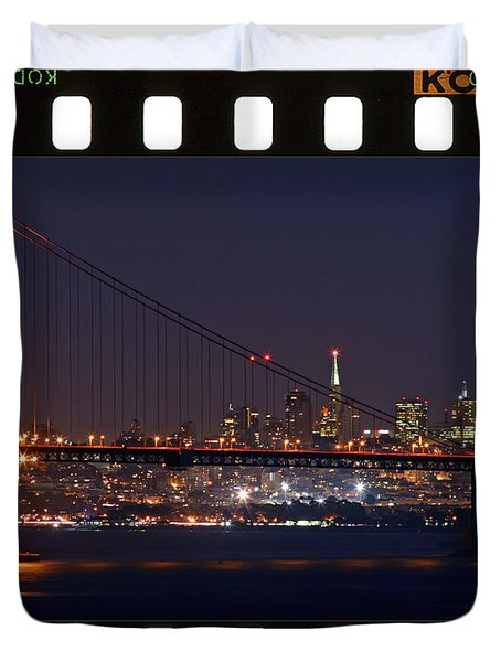 Duvet Cover featuring the photograph Golden Gate 35mm Frame by Christopher McKenzie
