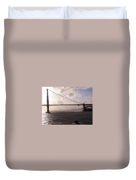 Golden Gate And Bay Bridge Duvet Cover by Jay Milo