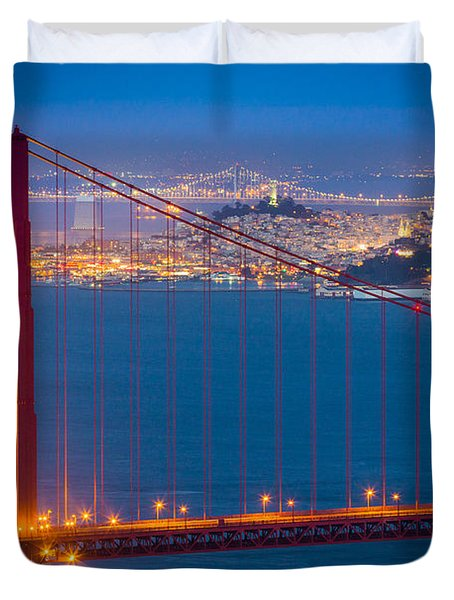 Golden Gate And San Francisco Duvet Cover by Inge Johnsson