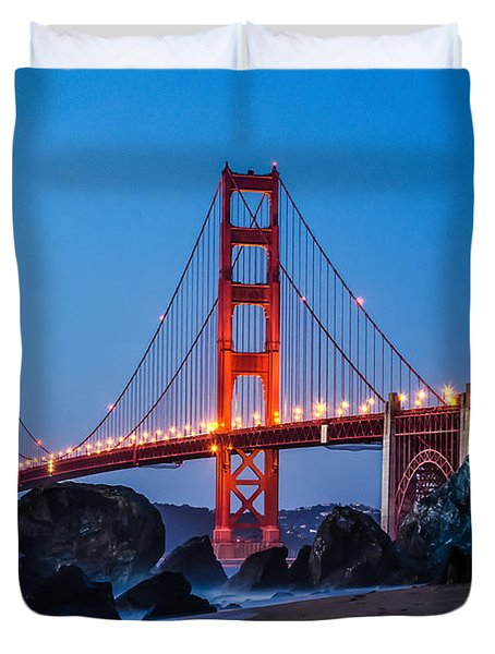 Golden Gate At Twilight Duvet Cover