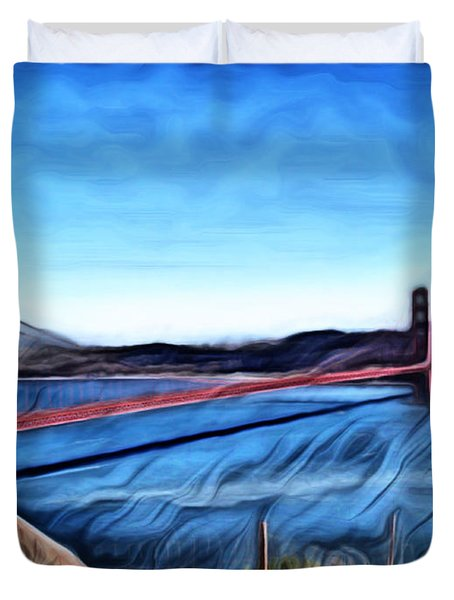 Windy Day At Golden Gate Bridge Duvet Cover