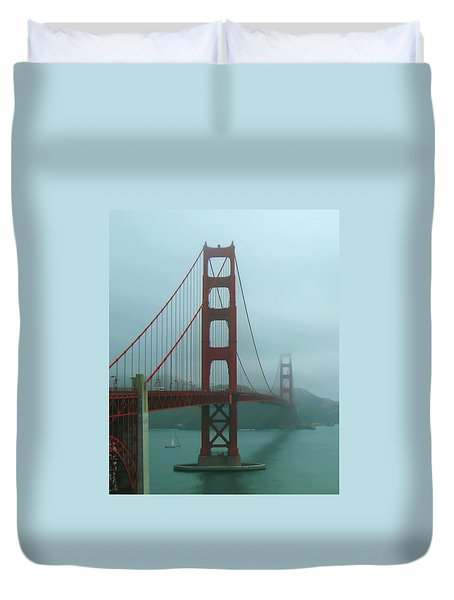 Golden Gate Bridge And Partial Arch In Color  Duvet Cover by Connie Fox