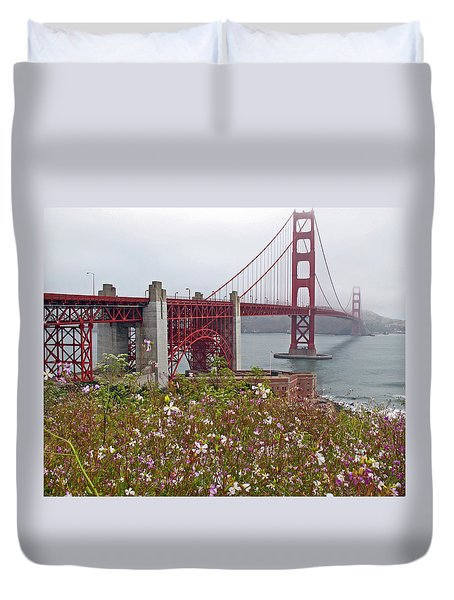 Golden Gate Bridge And Summer Flowers Duvet Cover