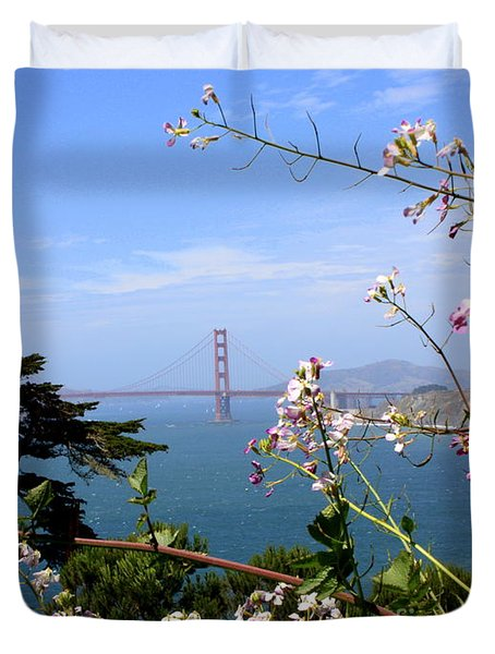 Golden Gate Bridge And Wildflowers Duvet Cover by Carol Groenen