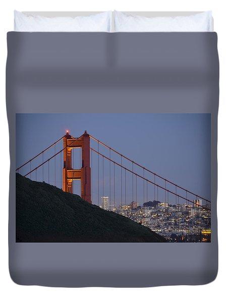 Golden Gate Bridge At Dusk Duvet Cover