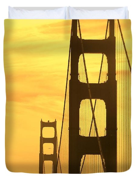 Duvet Cover featuring the photograph Golden Gate Bridge  by Clare Bevan