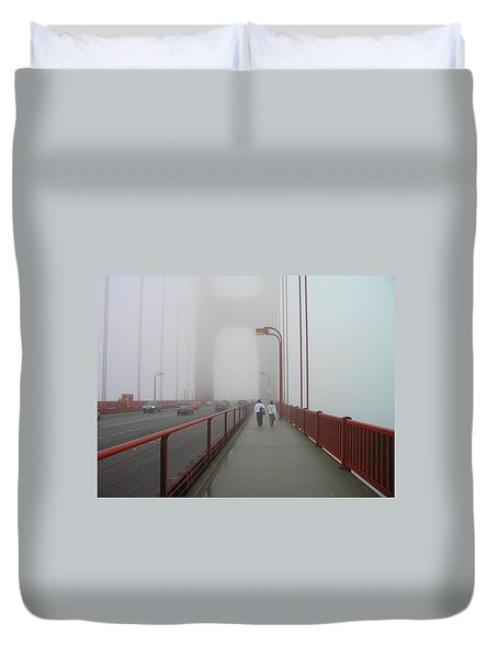 G. G. Bridge Walking Duvet Cover