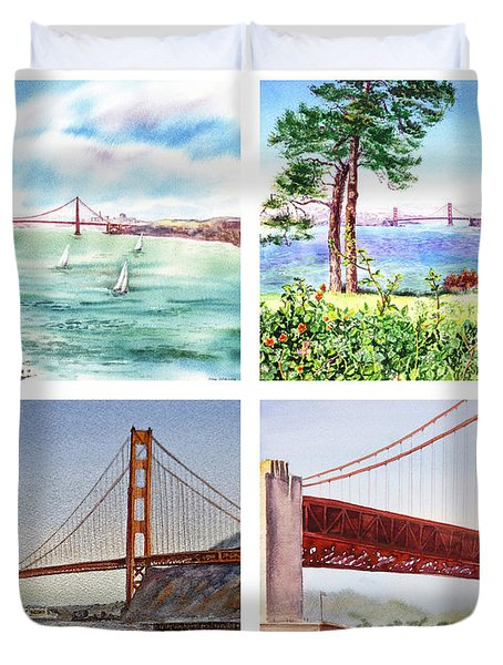 Golden Gate Bridge San Francisco California Duvet Cover by Irina Sztukowski