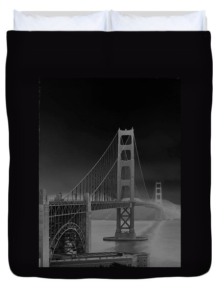 Duvet Cover featuring the photograph Golden Gate Bridge To Sausalito by Connie Fox