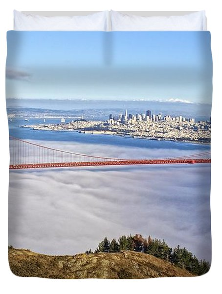 Duvet Cover featuring the photograph Golden Gate by Dave Files