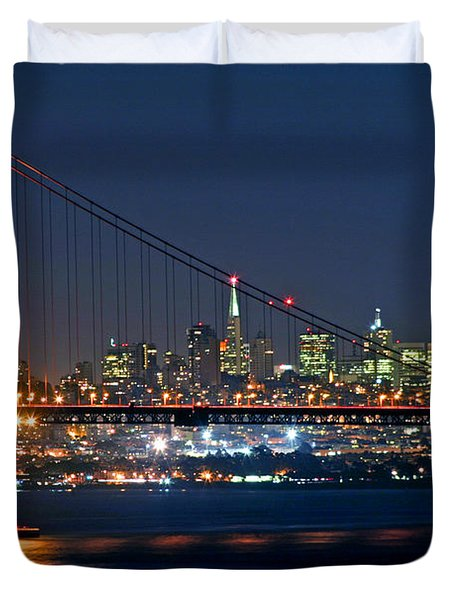 Duvet Cover featuring the photograph Golden Gate Night 10-26-10 by Christopher McKenzie