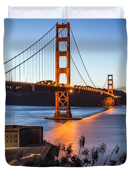 Duvet Cover featuring the photograph Golden Gate Night by Kate Brown
