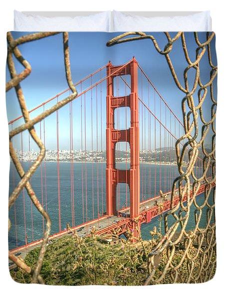 Golden Gate Through The Fence Duvet Cover by Scott Norris