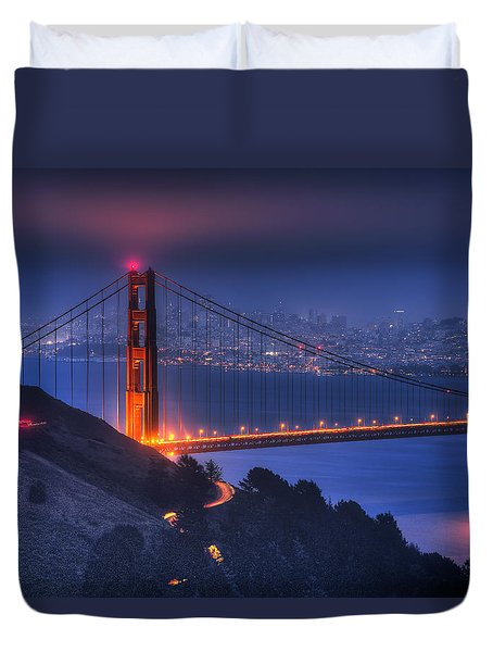 Golden Gate Twilight Duvet Cover