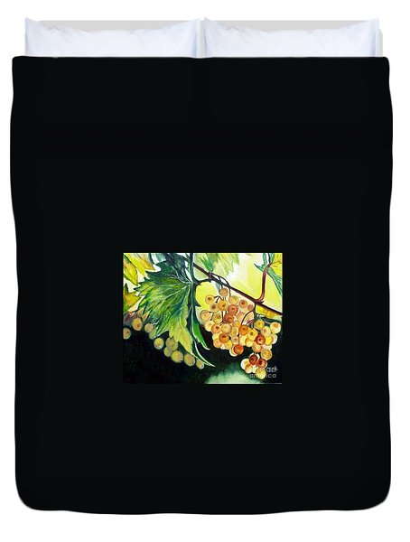 Duvet Cover featuring the painting Golden Grapes by Julie Brugh Riffey