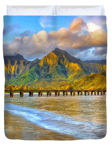 Golden Hanalei Morning Duvet Cover