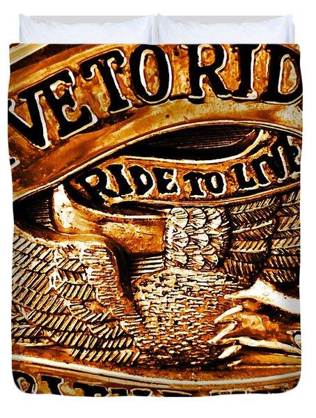 Golden Harley Davidson Logo Duvet Cover