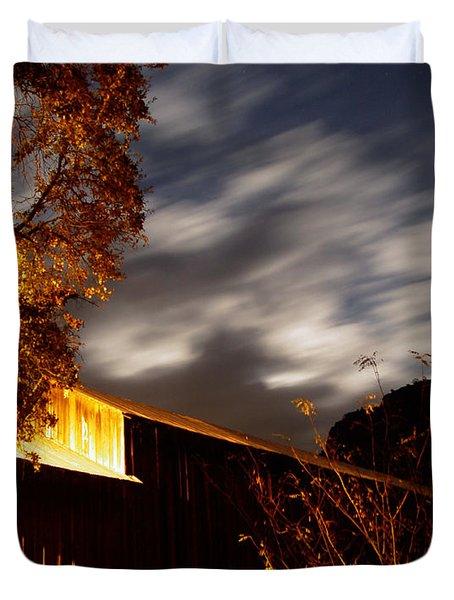 Golden Honeyrun Covered Bridge Duvet Cover by Peter Piatt