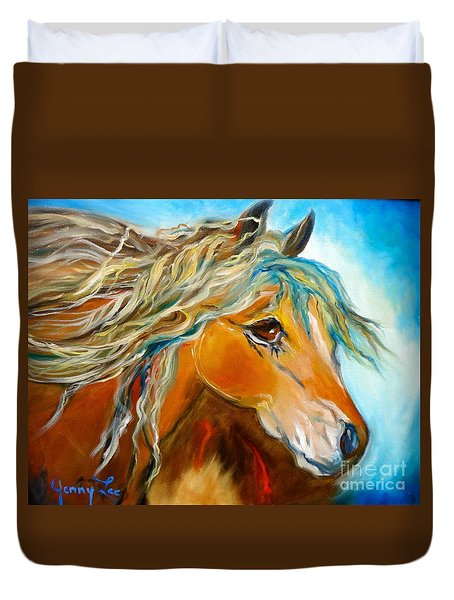 Duvet Cover featuring the painting Golden Horse by Jenny Lee