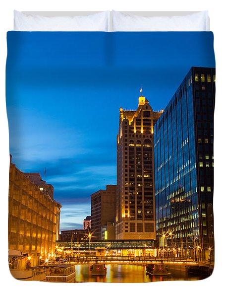 Golden Hour Milwaukee River Duvet Cover