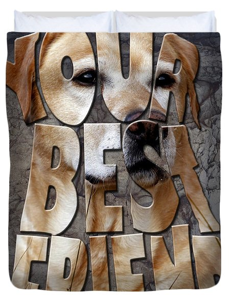 Golden Labrador Retriever Typography Art Duvet Cover by Georgeta Blanaru