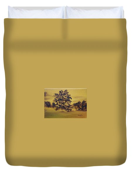 Duvet Cover featuring the painting Golden Landscape by Judith Rhue