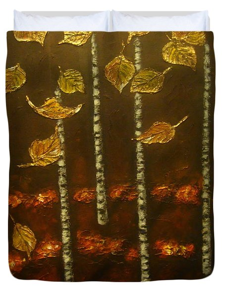 Golden Leaves 2 Duvet Cover by Elena  Constantinescu