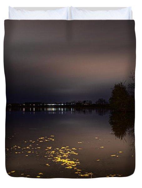 Golden Leaves On Lake Wausau Duvet Cover