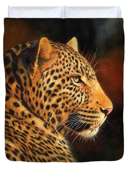 Golden Leopard Duvet Cover by David Stribbling