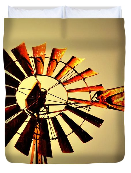 Golden Light Windmill Duvet Cover by Marty Koch