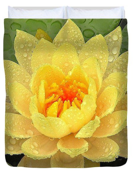 Golden Lily Duvet Cover