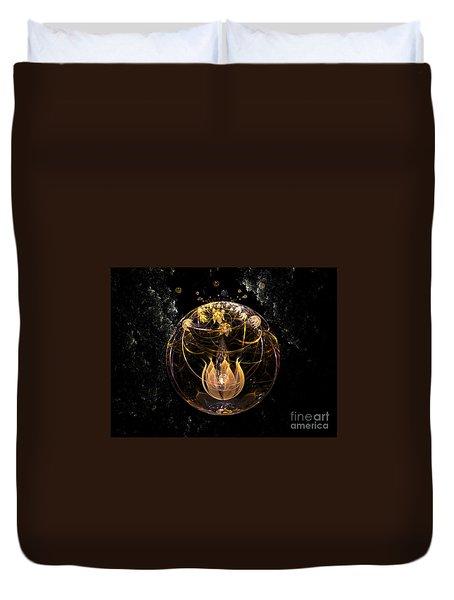 Golden Lotus In Deep Space Duvet Cover by Peter R Nicholls