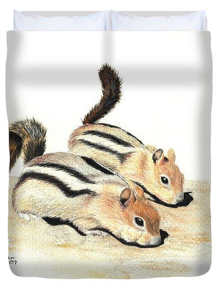 Golden-mantled Ground Squirrels Duvet Cover