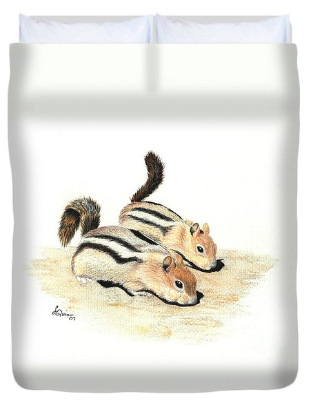 Golden-mantled Ground Squirrels Duvet Cover by Lynn Quinn