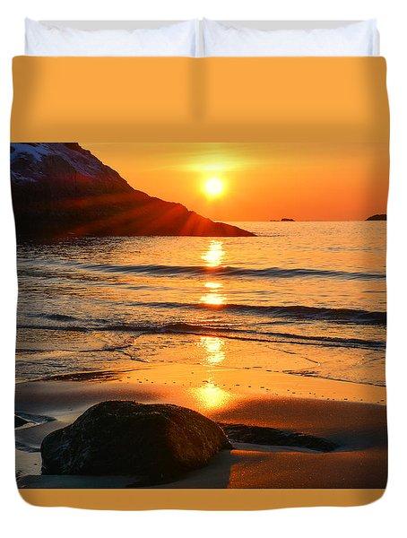 Golden Morning Singing Beach Duvet Cover by Michael Hubley