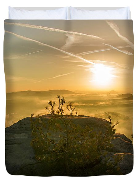 Golden Morning On The Lilienstein Duvet Cover