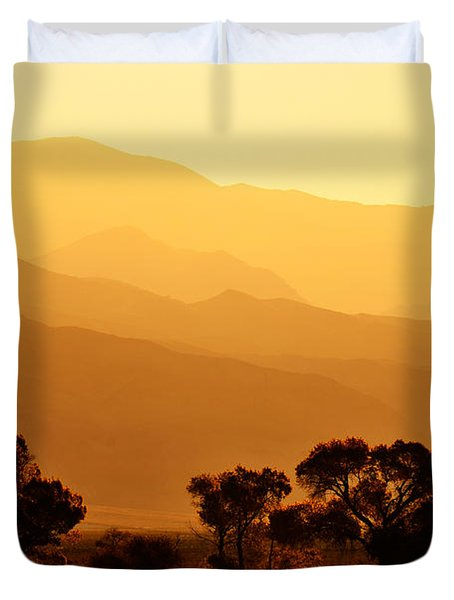 Golden Mountain Light Duvet Cover by David Lawson