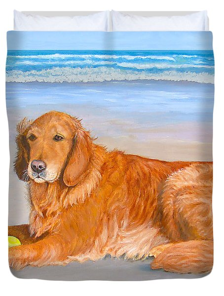Duvet Cover featuring the painting Golden Murphy by Karen Zuk Rosenblatt