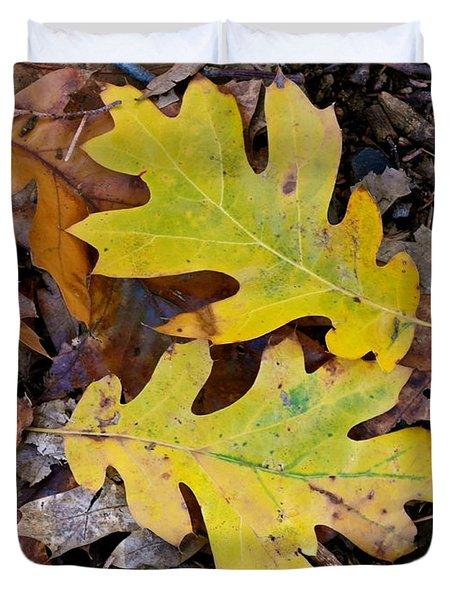 Golden Oak Leaf Duet Duvet Cover