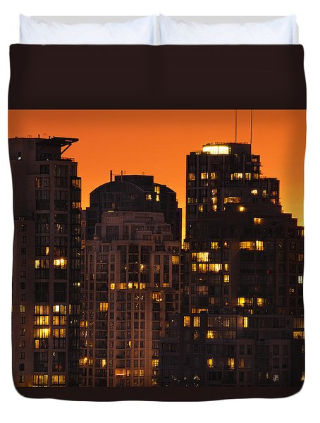 Duvet Cover featuring the photograph Golden Orange Cityscape Dccc by Amyn Nasser