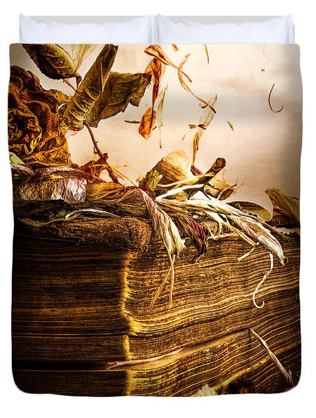 Golden Pages Falling Flowers Duvet Cover by Bob Orsillo