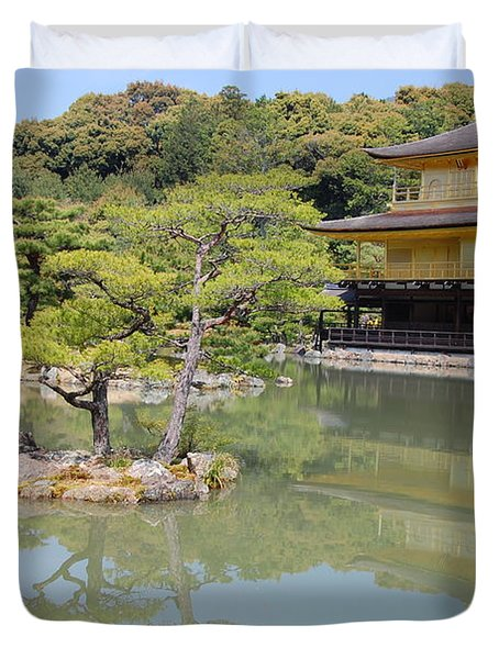 Golden Pavilion Duvet Cover by Jonah  Anderson