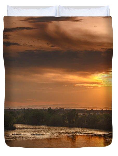 Golden Payette River Duvet Cover by Robert Bales