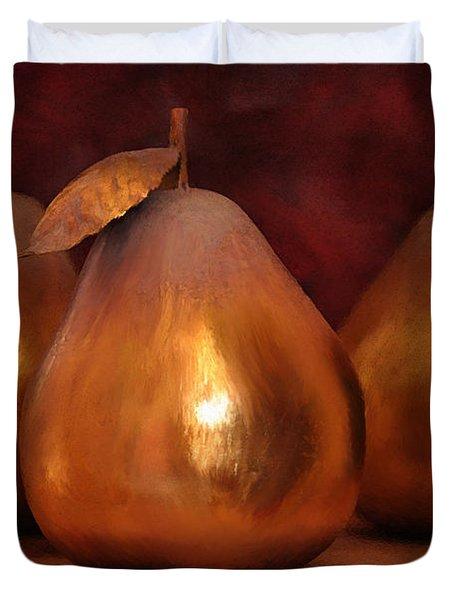 Golden Pears I Duvet Cover by April Moen