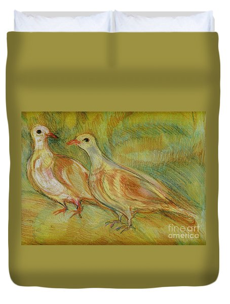 Golden Pigeons Duvet Cover