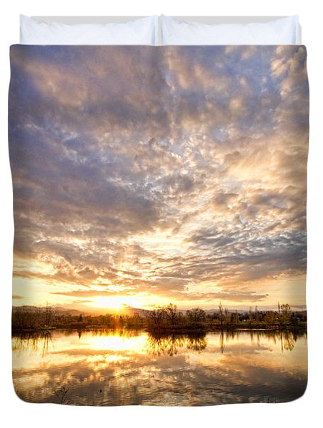 Golden Ponds Scenic Sunset Reflections Duvet Cover by James BO  Insogna