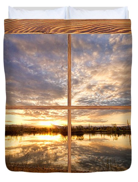 Golden Ponds Sunset Reflections  Barn Wood Picture Window View Duvet Cover by James BO  Insogna