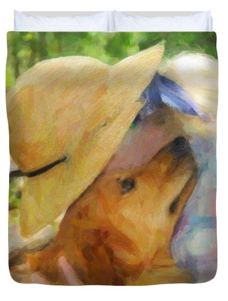 Golden Retriever- A Loving Heart Duvet Cover