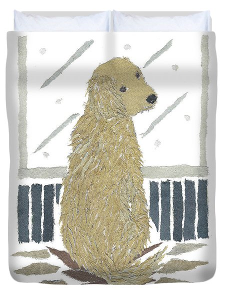 Golden Retriever Art Hand-torn Newspaper Collage Art Duvet Cover by Keiko Suzuki Bless Hue