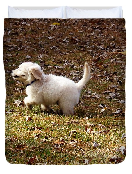 Golden Retriever Puppy Duvet Cover by Andrea Anderegg